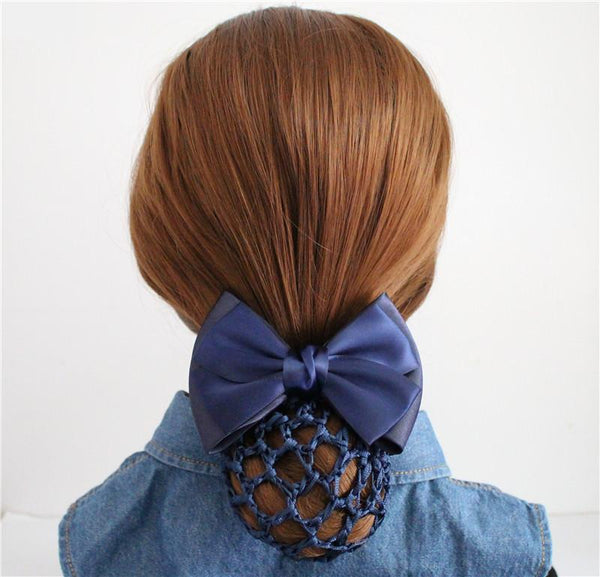 Hair Net Bun Snood Cover Satin Ribbon Bow Barrette Clip Grip Clasp Clamp