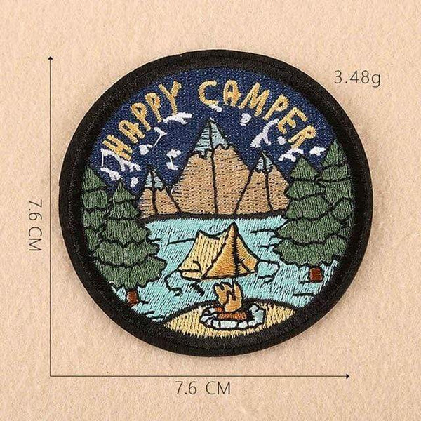 Happy Camper Patch Iron On Sew On Embroidered Badge Embroidery Applique Outdoor Camping Hiking Theme