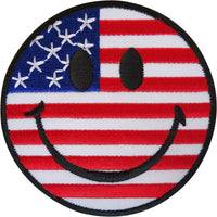 Happy Smiley Face USA Flag Patch Badge Iron On / Sew On United States of America