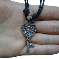 Heart Key Pendant Chain Necklace Womens Ladies Girls Kids Jewellery Silver Tone