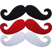 Iron On Patches 3 x Embroidered Moustaches Iron Sew On Badges Monopoly Mustaches
