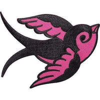 Iron Sew On Patch Sailors Black Pink Swallow Tattoo Bird Embroidered Jeans Badge
