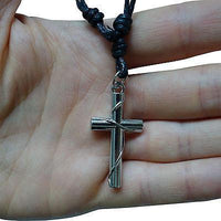 Jesus Cross Silver Tone Pendant Chain Necklace Choker Charm Mens Womens Boy Girl