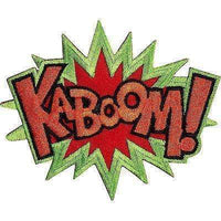 KABOOM Embroidered Iron / Sew On Patch T Shirt Bag Badge Retro Comic Word Embroidery Applique