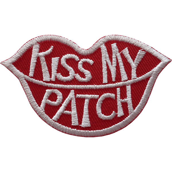 Kiss My Patch Iron On Sew On T Shirt Jeans Jacket Bag Red Lips Embroidered Badge