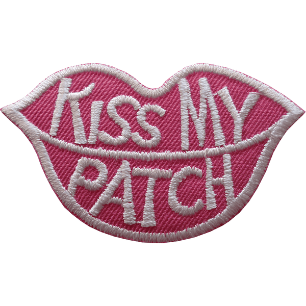 Kiss My Patch Iron Sew On T Shirt Jeans Jacket Bag Pink Lips Embroidered Badge