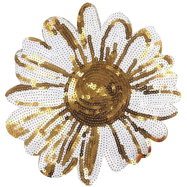 Large Sequin Flower Patch Sew On Patch Big Embroidered Badge Embroidery Applique Motif