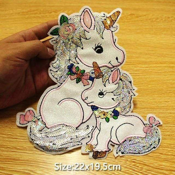 Large Sequin Unicorns Patch Sew On Patch Big Embroidered Badge Embroidery Motif Applique