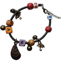 Letters A B B D Shell Umbrellas Wood Beads Bells Charm Bracelet Wristband Bangle