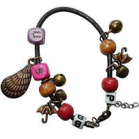 Letters P B S U Shell Umbrellas Wood Beads Bells Charm Bracelet Wristband Bangle