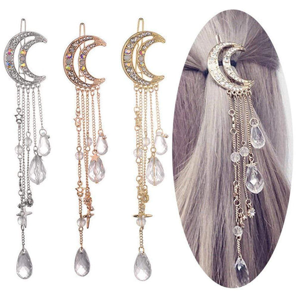 Moon Hair Clip Hair Pin Long Tassel Chain Star Cross Beads Rhinestone Crystal