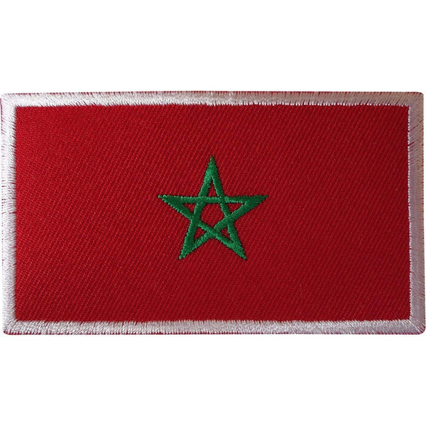 Morocco Flag Iron On Patch Moroccan Jewish Star Pentagram Sew Embroidered Badge