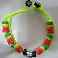 Neon Bracelet Wristband Bangle Wood Beaded Cord Beach Sun Surfer Girls Jewellery