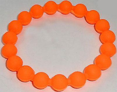 Neon Orange Rubber Silicone Ball Friendship Charm Cuff Bracelet Wristband Bangle Neon Orange Rubber Silicone Ball Friendship Charm Cuff Bracelet Wristband Bangle