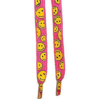 Neon Pink Smiley Face Shoe Laces for Girls Womens Ladies Childrens Kids Trainers Neon Pink Smiley Face Shoe Laces for Girls Womens Ladies Childrens Kids Trainers