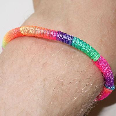 Neon Rainbow Wristband Friendship Cuff Charm Bracelet Bangle Mens Womens Jewelry
