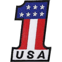 Number One 1 USA Flag Embroidered Iron Sew On Patch United States America Badge
