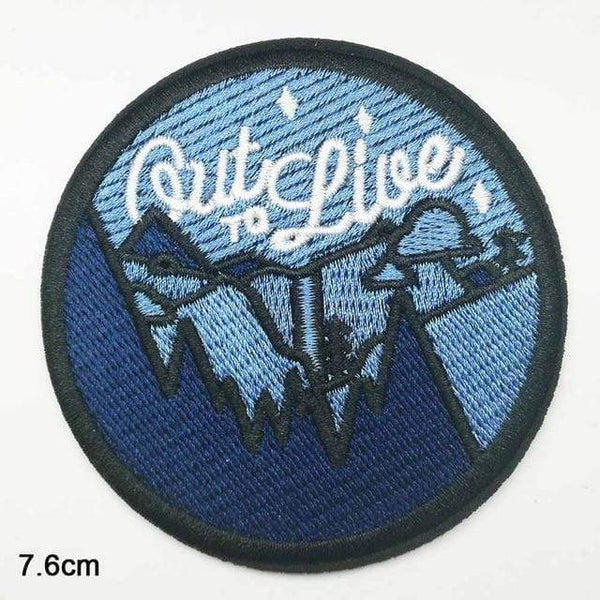 Out To Live Patch Iron On Sew On Embroidered Badge Mountains Nature Embroidery Applique