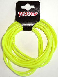 Pack of 12 Fluorescent Neon Yellow Gummy Bracelets Wristbands Bangles Boys Girls