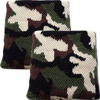 Pair of Army Soldier Camo Sweatbands Wristbands Military Fancy Dress Paintball