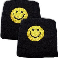 Pair of Black Smiley Face Wrist Sweatbands Wristbands Sport Roller Skating Skate