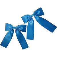 Pair of Blue Hair Bow Ribbon Clips Clamp Clasps Barrettes Girls Kids Accessories