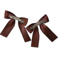 Pair of Brown Hair Bow Ribbon Clips Grips Clasps Barrettes Girls Kid Accessories
