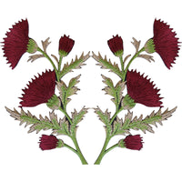 Pair of Burgundy Maroon Red Thistle Flower Patches Iron On Sew On Flowers Patch