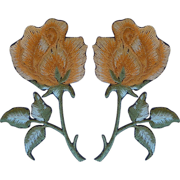 Pair of Gold Rose Patches Iron On / Sew On Patch Badge Embroidered Flowers Roses