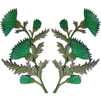 Pair of Green Thistle Flower Patches Iron Sew On Embroidered Patch Badge Flowers