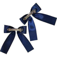 Pair of Navy Blue Hair Bow Ribbon Clips Clasps Barrettes Girls Kids Accessories