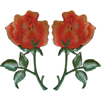 Pair of Peach Orange Roses Patches Iron On Sew On Embroidered Rose Flower Patch