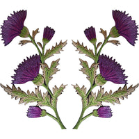 Pair of Purple Thistle Flower Patches Iron Sew On Shirt Bag Flowers Patch Badge