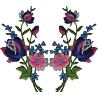 Pair of Rose Flower Patches Iron Sew On Flowers Embroidered Applique Patch Badge