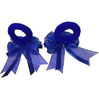 Pair of Small Blue Hair Bow Ribbon Scrunchies Elastics Bobbles Kids Accessories