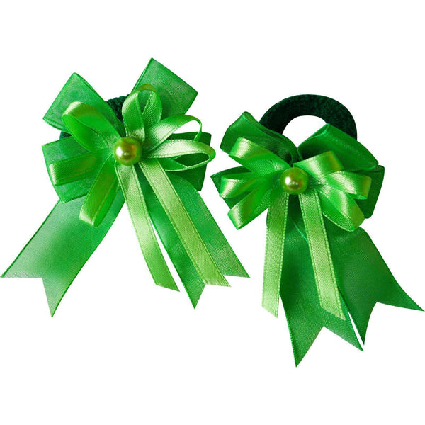 Pair of Small Green Hair Bow Ribbon Scrunchie Elastics Bobbles Girls Accessories