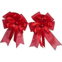Pair of Small Red Hair Bow Ribbon Scrunchies Elastics Bobbles Girls Accessories