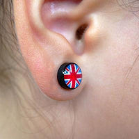 Pair of UK Flag Magnetic Clip On Black Stud Earrings Brit Union Jack Mens Womens