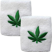 Pair of White Cannabis Leaf Wrist Sweatbands Wristbands Boxing Aerobics Running
