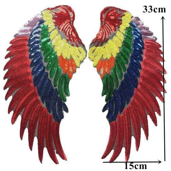 Parrot Angel Wings Patch Iron On / Sew On Large Cherub Wings Sequin Embroidered Badge Sequins Embroidery Applique