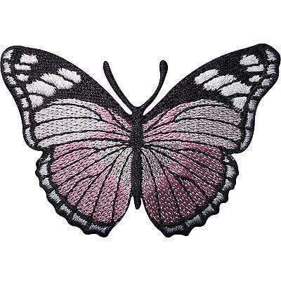 Pink Butterfly Embroidered Iron / Sew On Patch Coat Jacket Dress Skirt Hat Badge