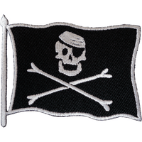 Pirate Flag Patch Iron On Sew On Jolly Roger Jacket Embroidered Motorcycle Badge