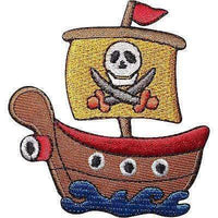 Pirate Ship Embroidered Iron / Sew On Patch Skull and Cutlass Flag Clothes Badge