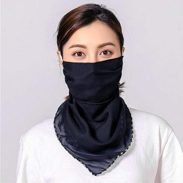Plain Navy Blue Washable Face Mask Reusable Face Covering Chiffon Silk Fabric Scarf