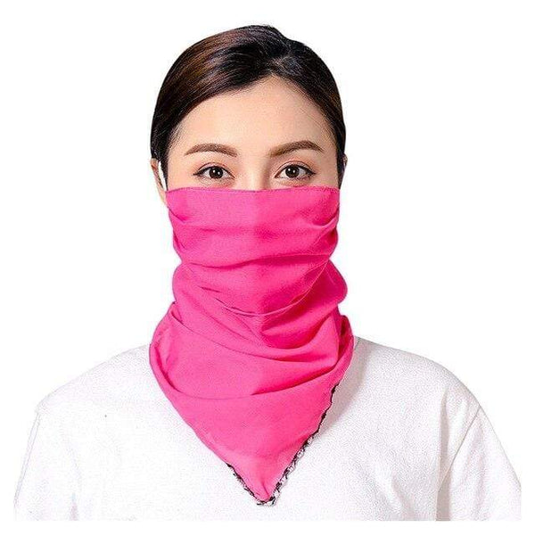 Plain Rose Red Pink Reusable Face Mask Washable Face Covering Scarf Chiffon Silk Fabric