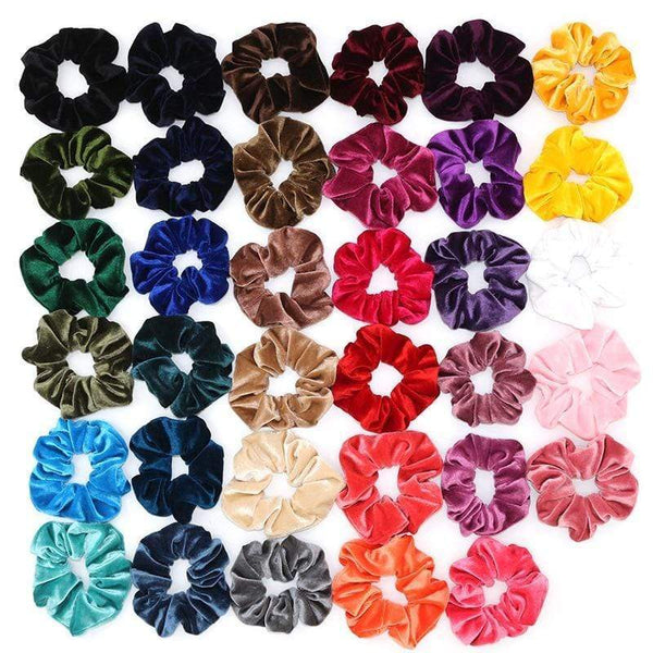 Plain Velvet Hair Scrunchies Bobbles Elastic Hair Bands