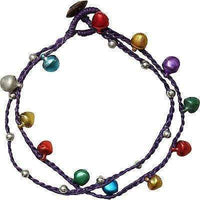 Purple Ankle Bracelet Foot Anklet Chain Multicoloured Silver Bells Indian Gypsy