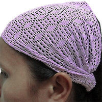 Purple Elastic Lace Hair Net Crochet Snood Headband Hairband Gym Alice Head Band
