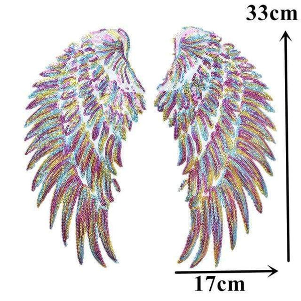 Rainbow Angel Wings Patch Iron On / Sew On Jacket T Shirt Jumper Dress Cherub Wings Sequin Large Embroidered Badge Sequins Embroidery Applique