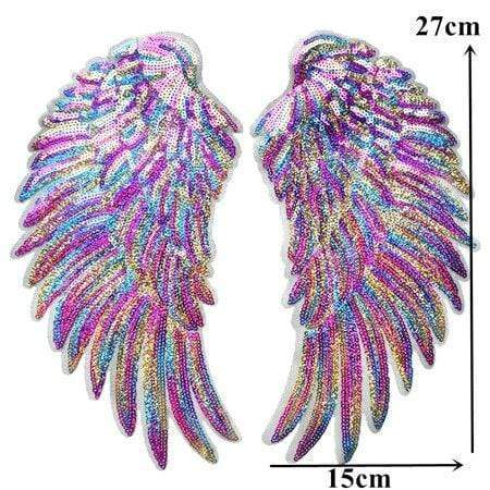 Rainbow Angel Wings Patch Iron On / Sew On Large Cherub Wings Sequin Embroidered Badge Sequins Embroidery Applique